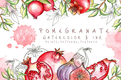 Juicy pomegranate watercolor set