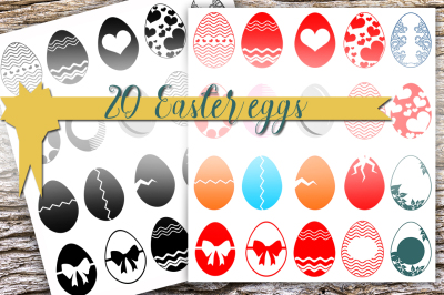 Easter egg designs - 20 pieces, Digital download for Cutting Machines,