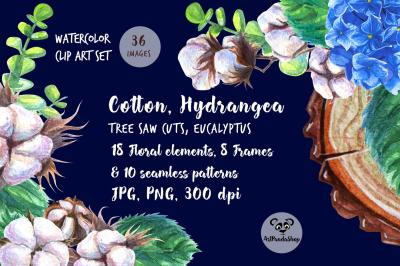 Cotton, Hydrangea,slice of tree Watercolor Frames/Seamless patterns