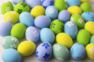 Pastel colored Easter eggs background.