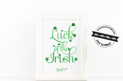 Luck of the Irish Vector Art SVG JPG PNG PDF Files for Cut or Print