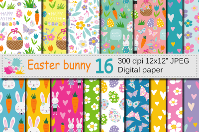 Easter Bunny Seamless Patterns / Bright Easter Digital Paper
