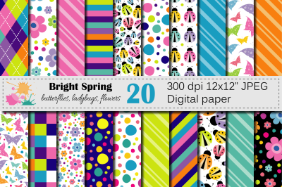 Bright Spring Digital Paper with butterflies, ladybugs and flowers