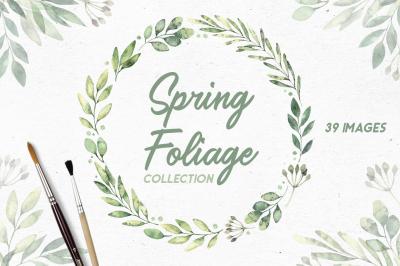 Spring foliage. Watercolor set