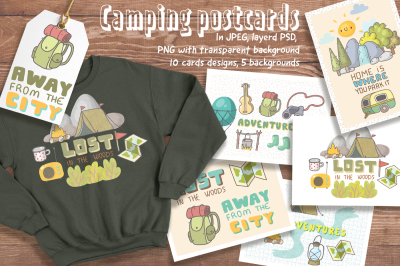 Camping cards and designs