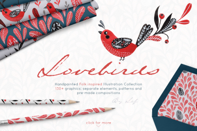 Lovebirds folk art graphics set with patterns, elements and wreaths