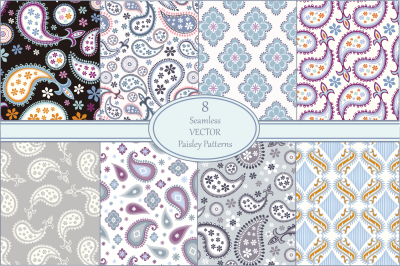 Seamless Vector Paisley Pattern Set