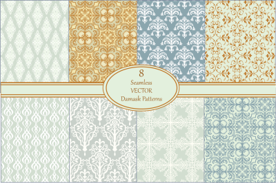 Seamless Vector Damask Pattern Set