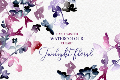 Twilight Flowers Clipart - Watercolour Hand Painted PNG