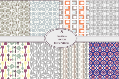 Seamless Vector Retro Pattern Set