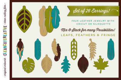 Set of 26 Faux Leather Earrings - SVG DXF EPS - Cricut and Silhouette