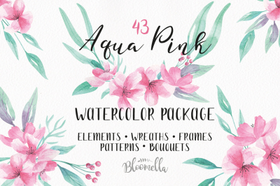 Watercolor Aqua Pink Flowers Package Clipart Floral Wedding Kit