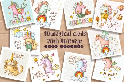 10 postcards with Unicorns