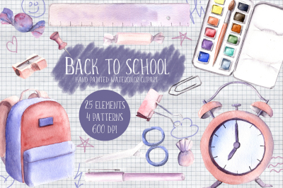 Back to school Watercolor Clipart Hand painted