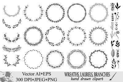 Wreath clipart / Hand drawn black round wedding frames, laurels vector