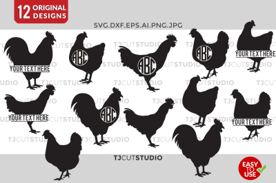 Chicken SVG, Chicken Monogram Svg, Chicken Silhouette.