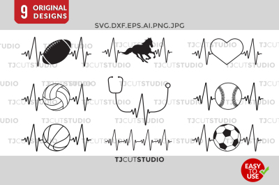 Heartbeat Svg,Baseball,basketball, Horse, soccer,nurse.