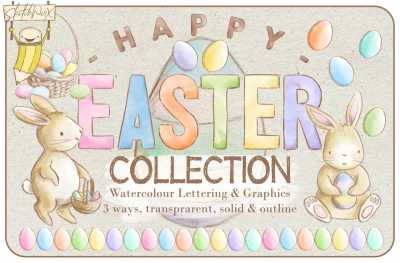 Happy Easter Watercolour Collection
