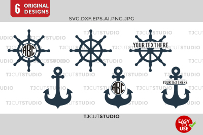 Anchor SVG Files, Anchors Split, Ship Wheel SVG cut files.