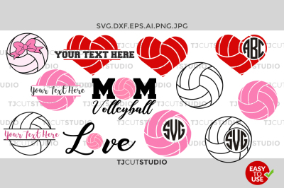 Volleyball Monogram svg, split volleyball, Love, Mom, Volleyball
