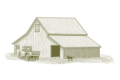 Woodcut Truck and Barn