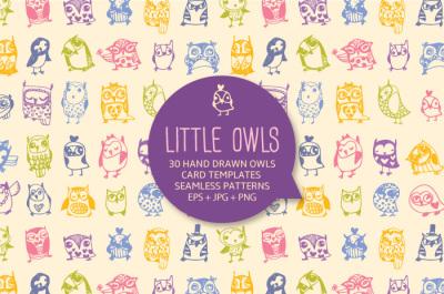 30 cute hand drawn owls