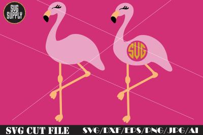 Flamingo SVG* Cute Flamingo Monogram SVG Cut File
