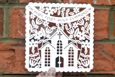 First holy communion Paper Cut SVG / DXF / EPS Files