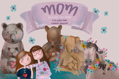Mother day watercolor clipart