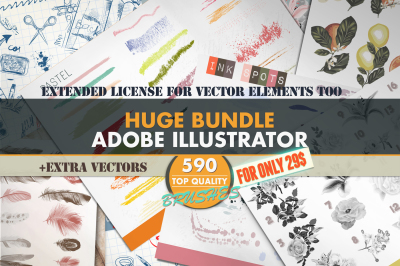 Mega brushes bundle for Adobe Illustrator