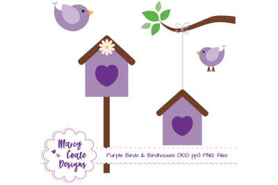Purple Birds & Birdhouses PNG Clipart Set