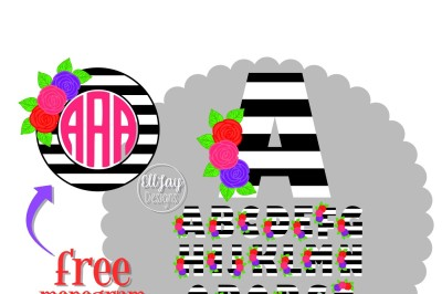 BW Stripe Floral Letters A to Z and Free Monogram Frame