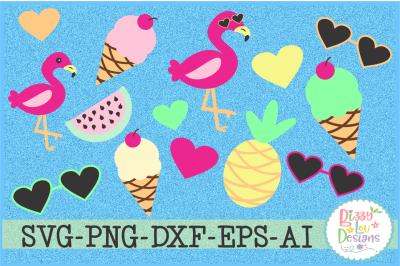 Flamingos and Summertime Graphic Set Clip Art Set
