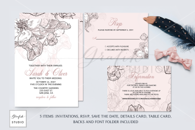 Blush Floral Wedding Invitation Template