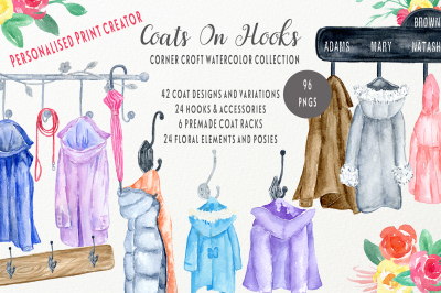 Watercolor Coats on Coat Rack
