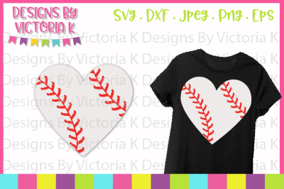 Baseball svg, Baseball Heart, Love Baseball, SVG, DXF, Cut file
