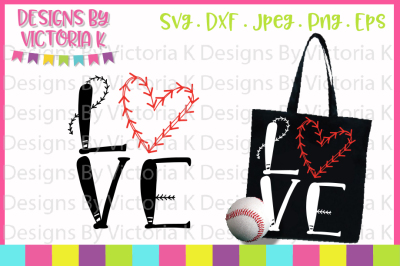Baseball svg, Love Baseball, Baseball Heart, SVG, DXF, Cut file