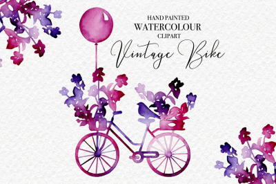 Vintage Bike - Watercolour Clipart
