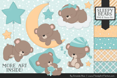 Beary Cute Sleepy Bears Clipart & Papers Set in Aqua