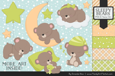 Beary Cute Sleepy Bears Clipart & Papers Set in Bamboo