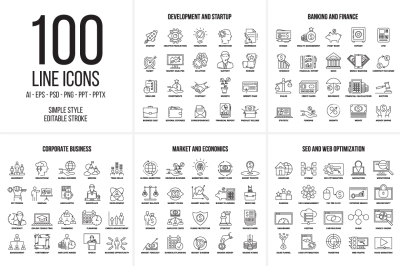 100 line business icons