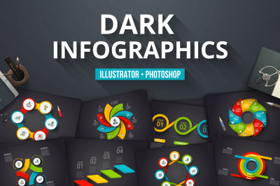 Dark infographics templates