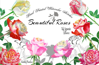 Watercolor Clipart with Roses
