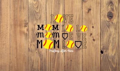 Love Svg, Love Softball, Mom Softball