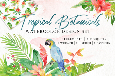 Tropical Botanicals Watercolor Set