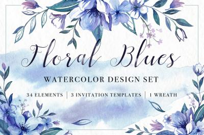 Floral Blues Watercolor Design Set