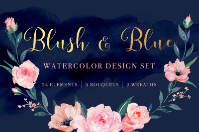 Blush and Blue Watercolor Design Set