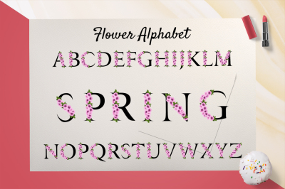 Spring alphabet with Sakura flower