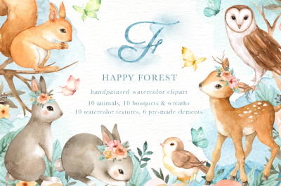 Happy Forest Watercolor Clip Art