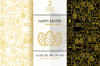Happy Easter Line Gold Tile Patterns